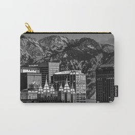 Salt Lake City Downtown Winter Skyline - Black And White Carry-All Pouch