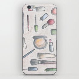 MAKE-UP - pencil and coloured pencil illustration iPhone Skin