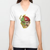 mario kart V-neck T-shirts featuring Mario Chimera by The Cracked Dispensary