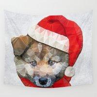santa Wall Tapestries featuring Santa Dog by Ancello