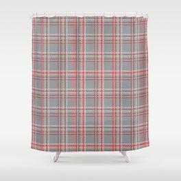 Gray, coral tartan plaid. Shower Curtain