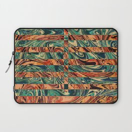 Geometric Abstract Painting - Fluid Painting - Brown, Red, Orange, Blue Abstract - Marbling Art Laptop Sleeve