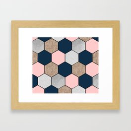 Navy and peach marble and foil hexagons Framed Art Print