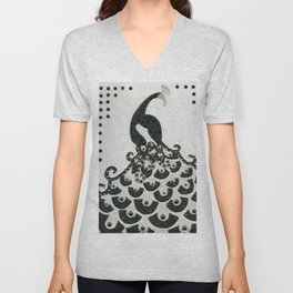 Peacock in Black Unisex V-Neck