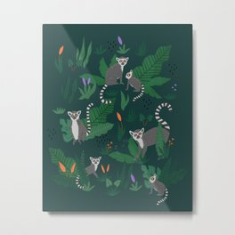 Lemurs in the Forest Metal Print