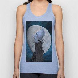 White Snowy Owl Bird Moon Blue A141 Unisex Tank Top