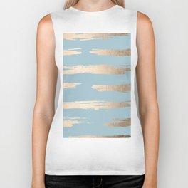 Abstract Paint Stripes Gold Tropical Ocean Sea Blue Biker Tank