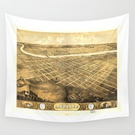 Bird's Eye View of Lawrence, Kansas (1869) Wall Tapestry