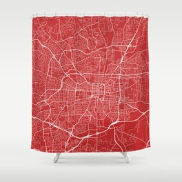Greensboro Map, USA - Red Shower Curtain
