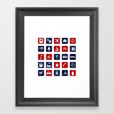 Travel Icons in RWB Framed Art Print
