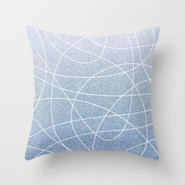 Scribble Linen - Denim Throw Pillow