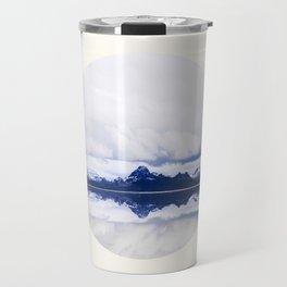 Mid Century Modern Round Circle Photo Graphic Design Navy Blue Arctic Mountains Travel Mug