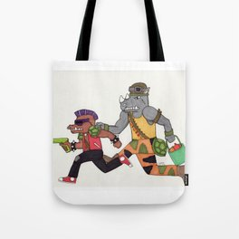 Bebop and Rocksteady Water Fight Tote Bag