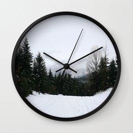 Mist between mountains Wall Clock