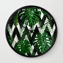 Geometrical green black white tropical monster leaves Wall Clock