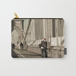 Biking Santa on the Brooklyn Bridge Carry-All Pouch