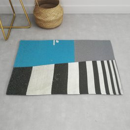 Blue Crossing Graphic Illustration of an Urban Street Photography in Japan Rug