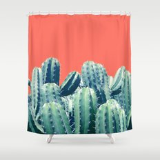Cactus on Coral #society6 #decor #buyart Shower Curtain