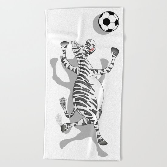Zebra Football Beach Towel