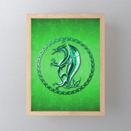 Green Celtic Dragon Framed Mini Art Print