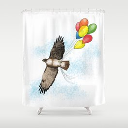 Hawk on his way to a party | Color Shower Curtain
