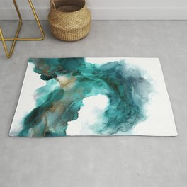 Wild Wave - alcohol ink painting, abstract wave, fluid art, teal, gold colored accents Rug