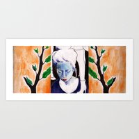 sister Art Prints featuring sister by emily tea