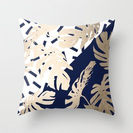 Simply Tropical Nautical Navy Memphis Palm Leaves Throw Pillow