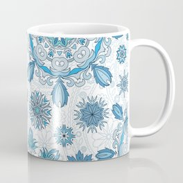 Floral pattern with stylized snowflakes. Christmas winter snow theme pattern. Coffee Mug