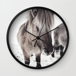 snowy Icelandic horse bw Wall Clock