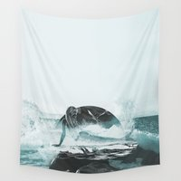 mermaid Wall Tapestries featuring Mermaid by fly fly away