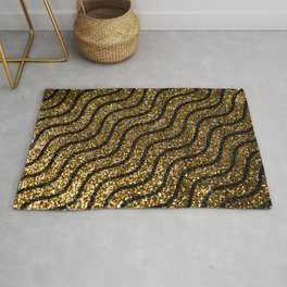 Golden shimmering waves. Abstract glitter luxury background. Glittering star dust trail. Rug