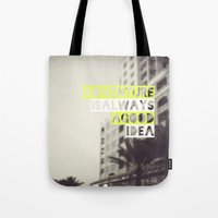 adventure Tote Bags featuring Adventure by Tina Crespo
