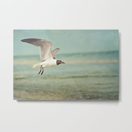 """The Seagull see farthest who flies highest."" --Proverbs quote Metal Print"