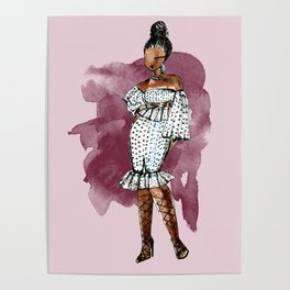 BIRTHDAY SLAY (maroon background with watercolor splash) Poster