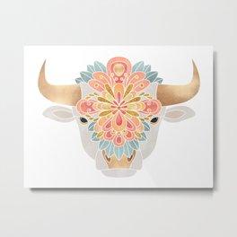 Flower Bull 2 Metal Print