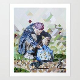 Las Palomas Hambrientas, The hungry doves Art Print