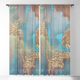 Abstract Blue And Gold Autumn Marble Sheer Curtain