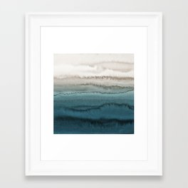 WITHIN THE TIDES - CRASHING WAVES TEAL Framed Art Print