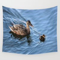swimming Wall Tapestries featuring Swimming Lesson by Judy Palkimas