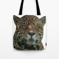 jaguar Tote Bags featuring Jaguar by Sean Foreman