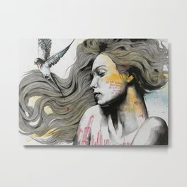 Monument (long hair girl with bird and skyline tattoo) Metal Print
