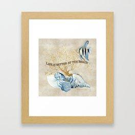 Indigo Ocean Sea Shells Angelfish Coral Watercolor Artwork Framed Art Print