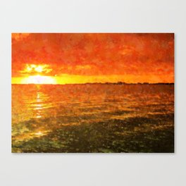 Red Sun Setting Canvas Print