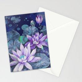 blue lake lilypads Stationery Cards