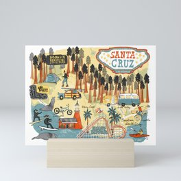 Santa Cruz California Illustrated Map Mini Art Print