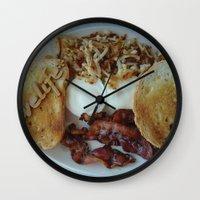 breakfast Wall Clocks featuring Breakfast by Gurevich Fine Art