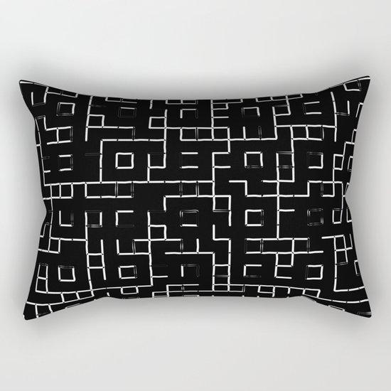 Maze - Black and white, abstract, maze pattern Rectangular Pillow