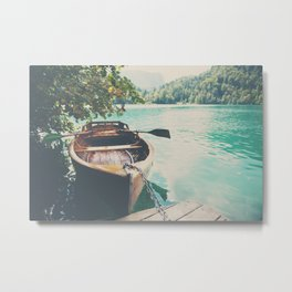 A row boat on Lake Bled, Slovenia Metal Print