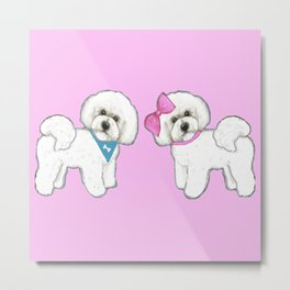 Bichon Frise friends on pink Metal Print